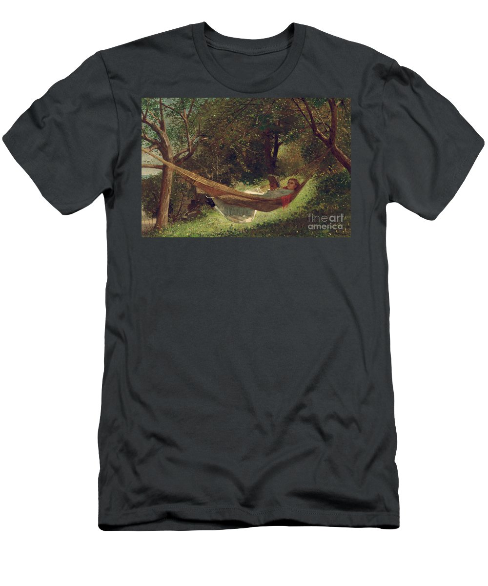 Girl In The Hammock Men's T-Shirt (Athletic Fit) featuring the painting Girl In The Hammock by Winslow Homer
