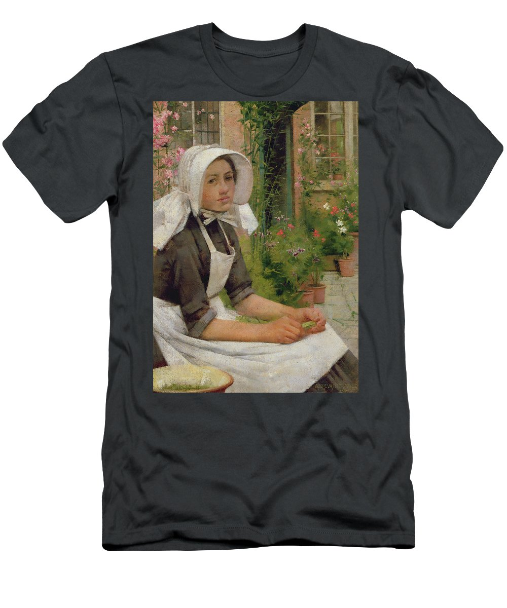Girl Men's T-Shirt (Athletic Fit) featuring the painting Girl Shelling Peas by Albert Chevallier Tayler