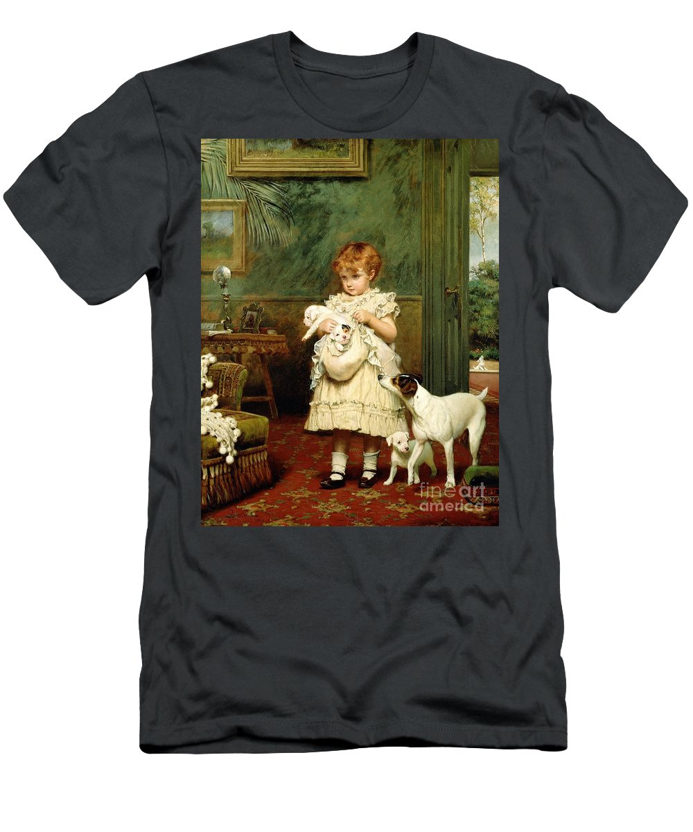 Girl With Dogs Men's T-Shirt (Athletic Fit) featuring the painting Girl With Dogs by Charles Burton Barber