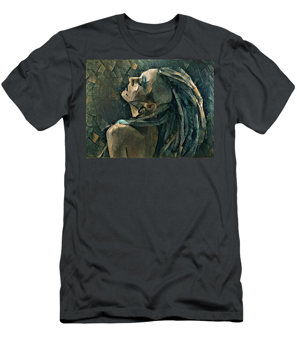 Dreadlocks T-Shirt featuring the mixed media Girl With The Dreadlocks by G Berry
