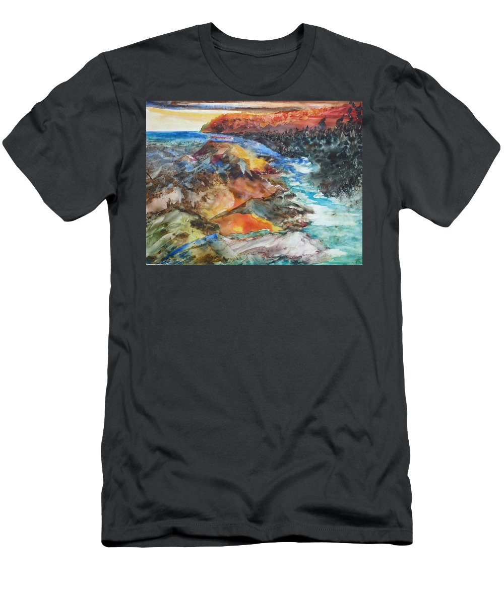 Abstract Men's T-Shirt (Athletic Fit) featuring the painting Glacial Meltdown by Ruth Kamenev