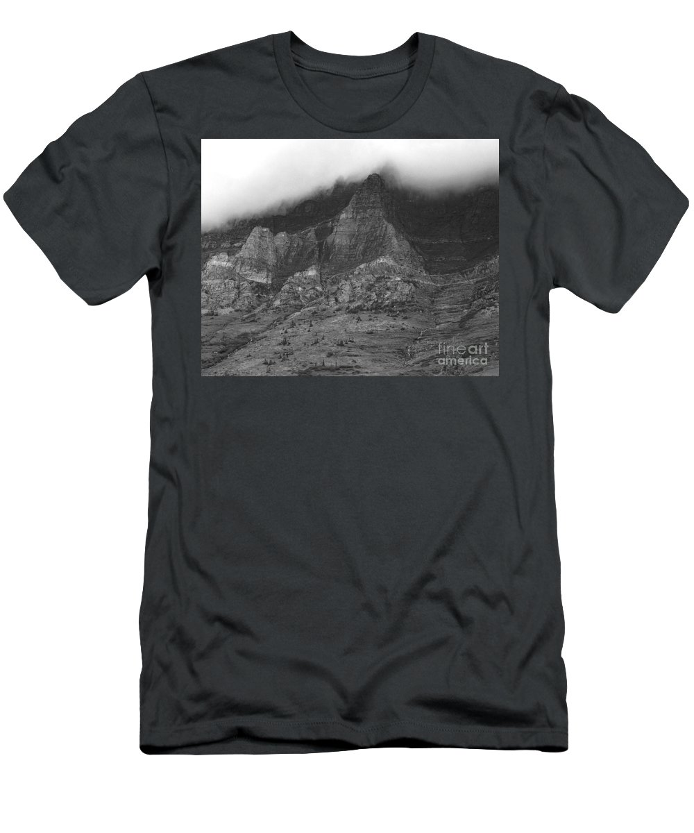 Glacier National Park Montana Horizontal Black And White Mountain Cloud Landscape Striation Pine Tree Waterfall Men's T-Shirt (Athletic Fit) featuring the photograph Glacier National Park Montana Horizontal by Heather Kirk