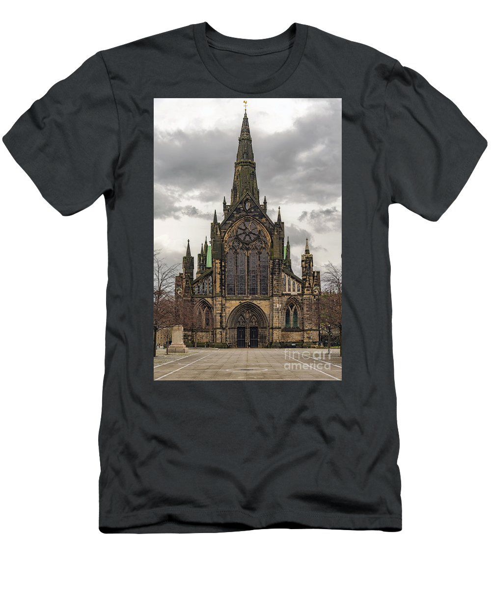 Glasgow Men's T-Shirt (Athletic Fit) featuring the photograph Glasgow Cathedral Front Entrance by Antony McAulay