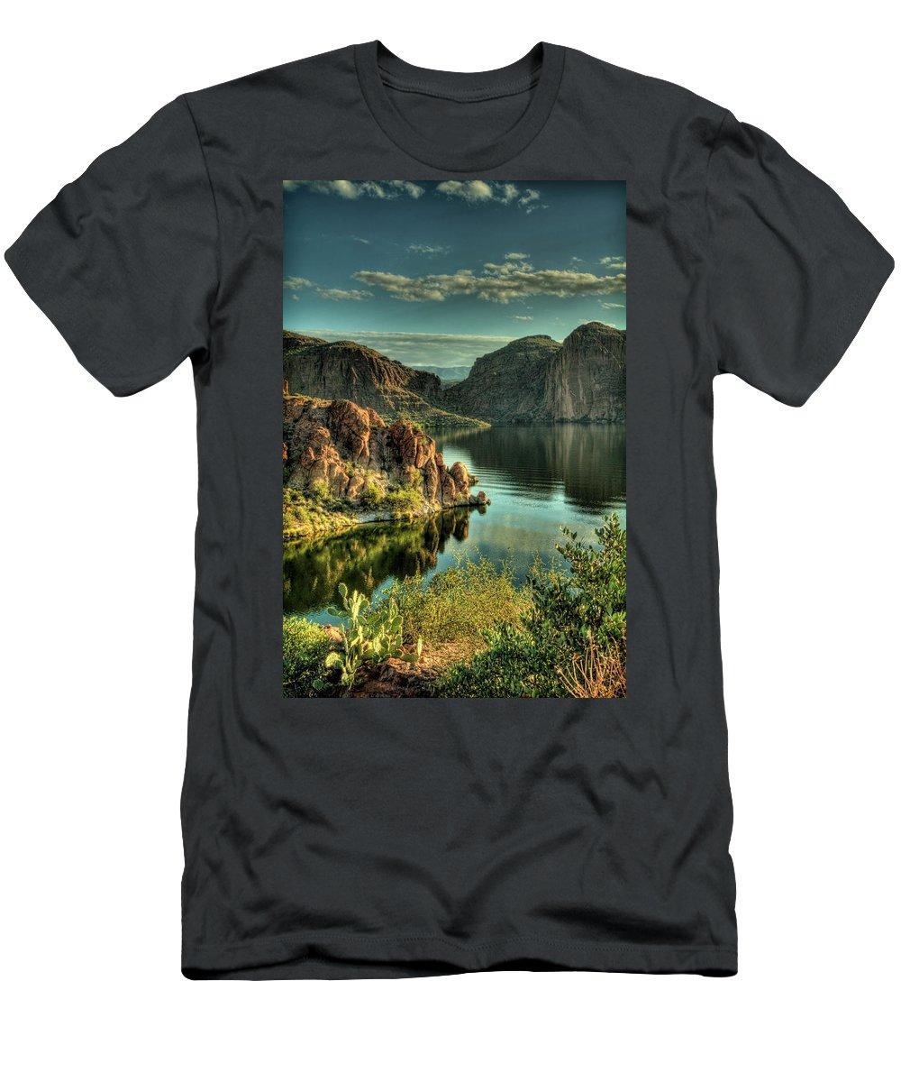 Arizona Men's T-Shirt (Athletic Fit) featuring the photograph Glass Lake by Saija Lehtonen