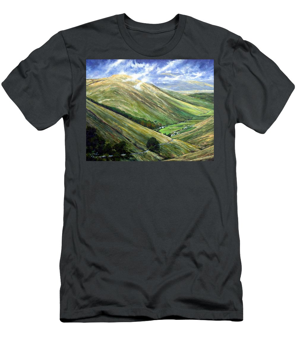 Landscapes T-Shirt featuring the painting Glen Gesh Ireland by Jim Gola