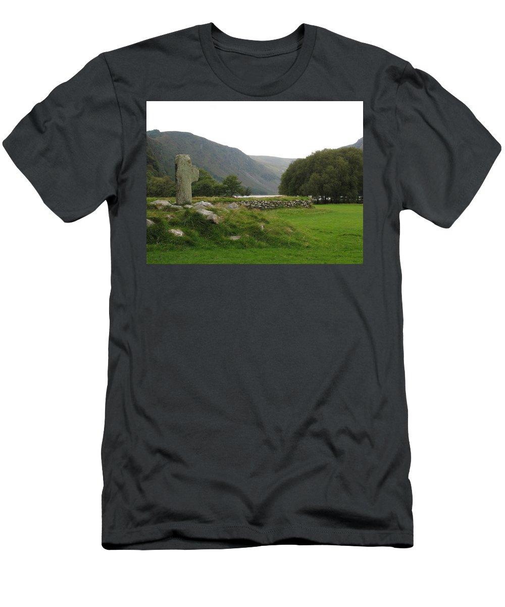 Glendalough Men's T-Shirt (Athletic Fit) featuring the photograph Glendalough by Kelly Mezzapelle
