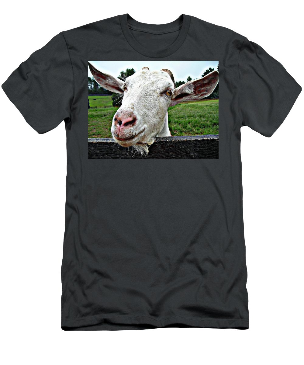 Goat Men's T-Shirt (Athletic Fit) featuring the photograph Goat Smile by Vicki Dreher