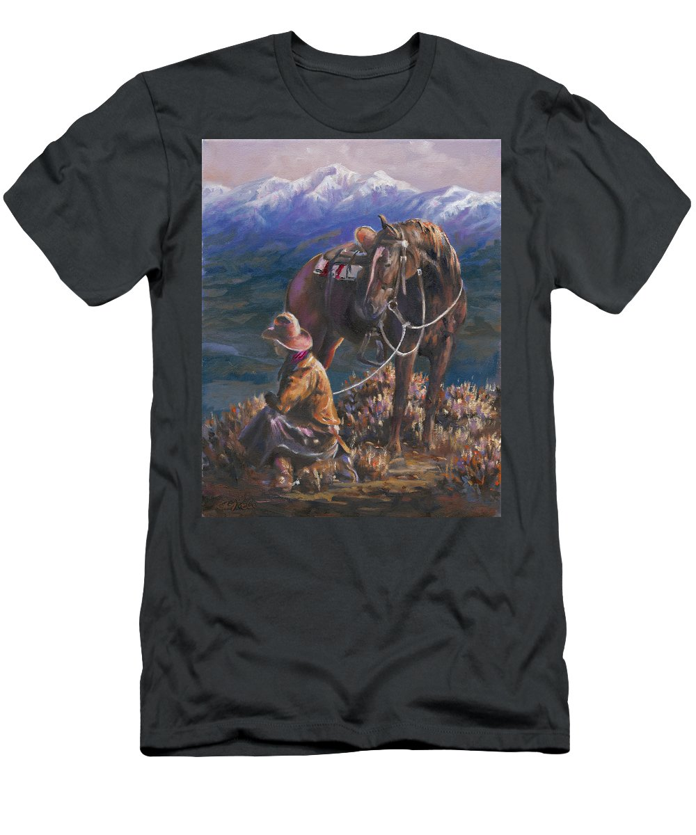 Cowboys Men's T-Shirt (Athletic Fit) featuring the painting God's Country by Mia DeLode