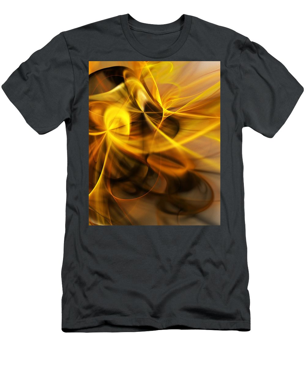 Fractal T-Shirt featuring the digital art Gold and Shadows by David Lane