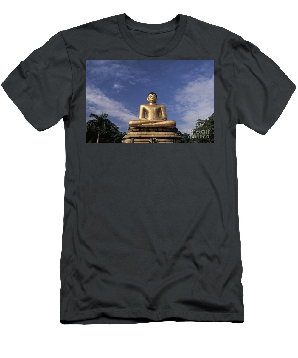 Asian Art Men's T-Shirt (Athletic Fit) featuring the photograph Golden Buddha by Larry Dale Gordon - Printscapes