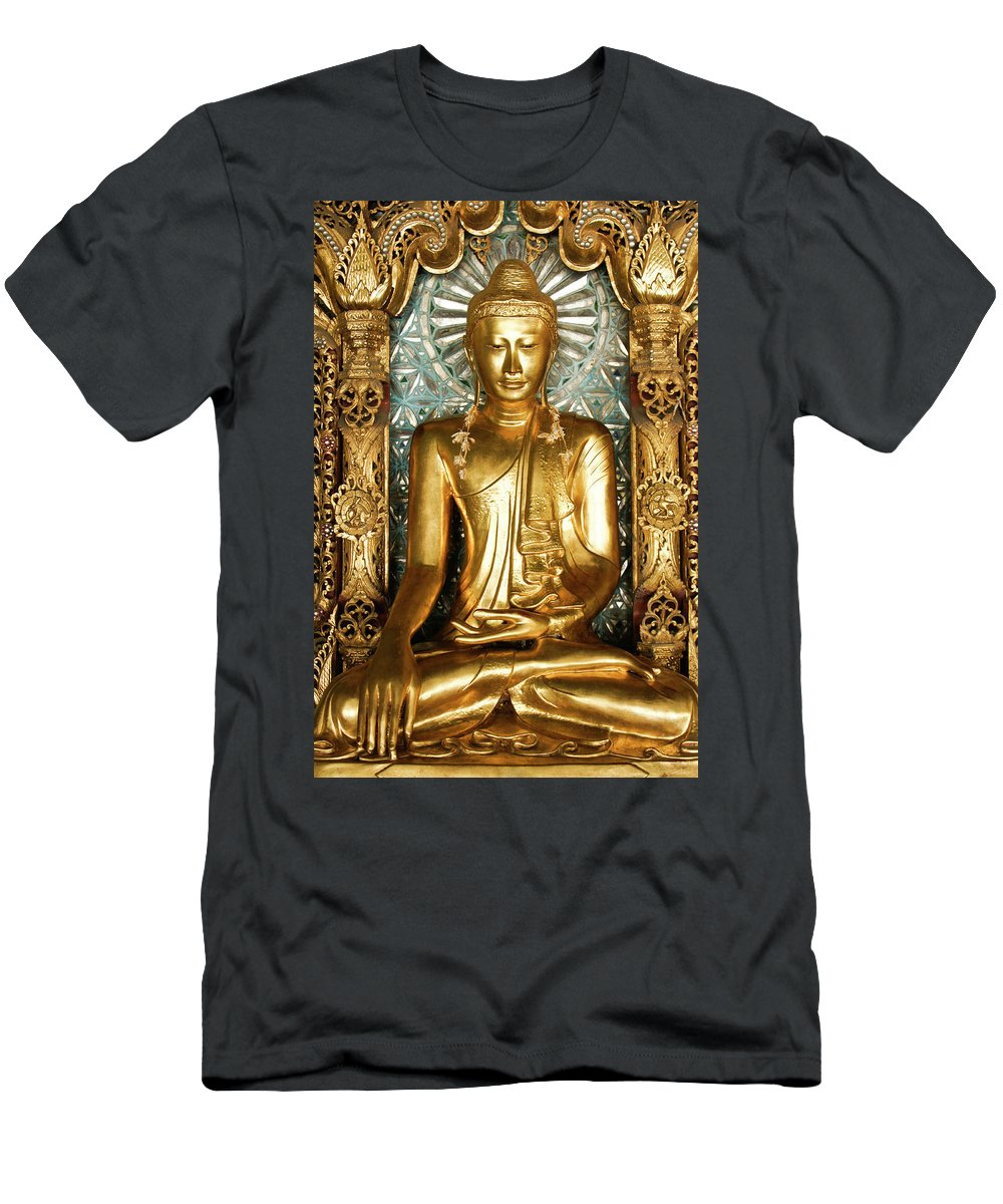 Asia Men's T-Shirt (Athletic Fit) featuring the photograph Golden Buddha by Michele Burgess