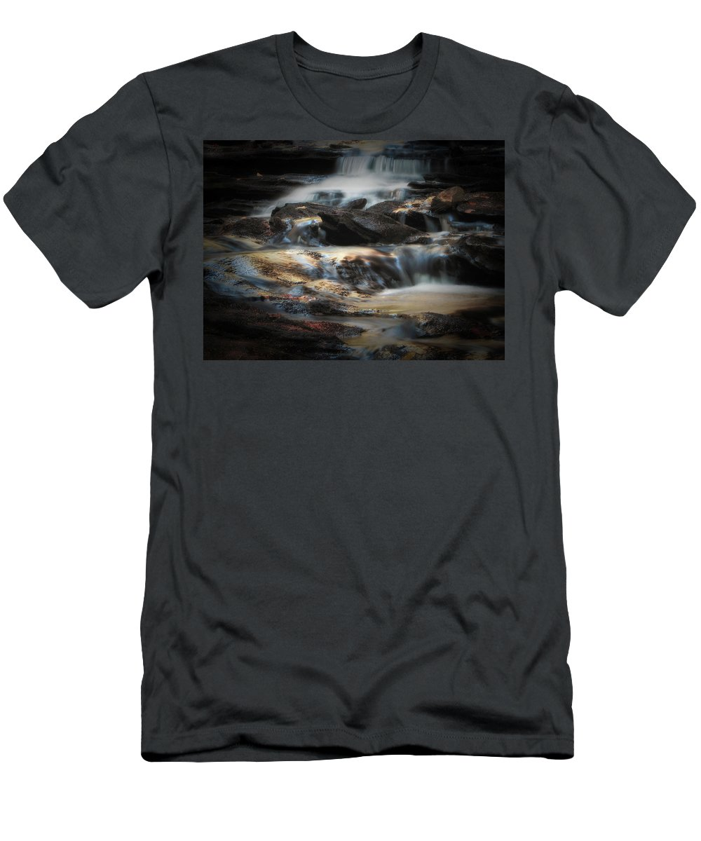 Waterfall Men's T-Shirt (Athletic Fit) featuring the photograph Golden Cascade by GJ Blackman