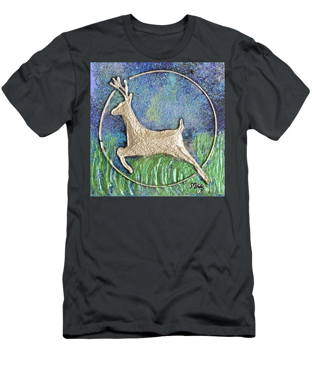 Golden Deer Men's T-Shirt (Athletic Fit) featuring the painting Golden Deer by Monica Castro