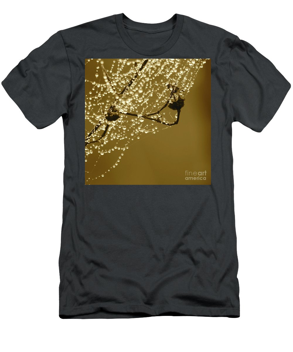 Dew Men's T-Shirt (Athletic Fit) featuring the photograph Golden Dewdrops by Carol Groenen