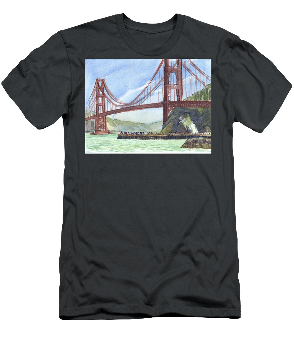 Landscape Men's T-Shirt (Athletic Fit) featuring the painting Golden Gate Bridge From Fort Baker, Ca by Judith Kunzle