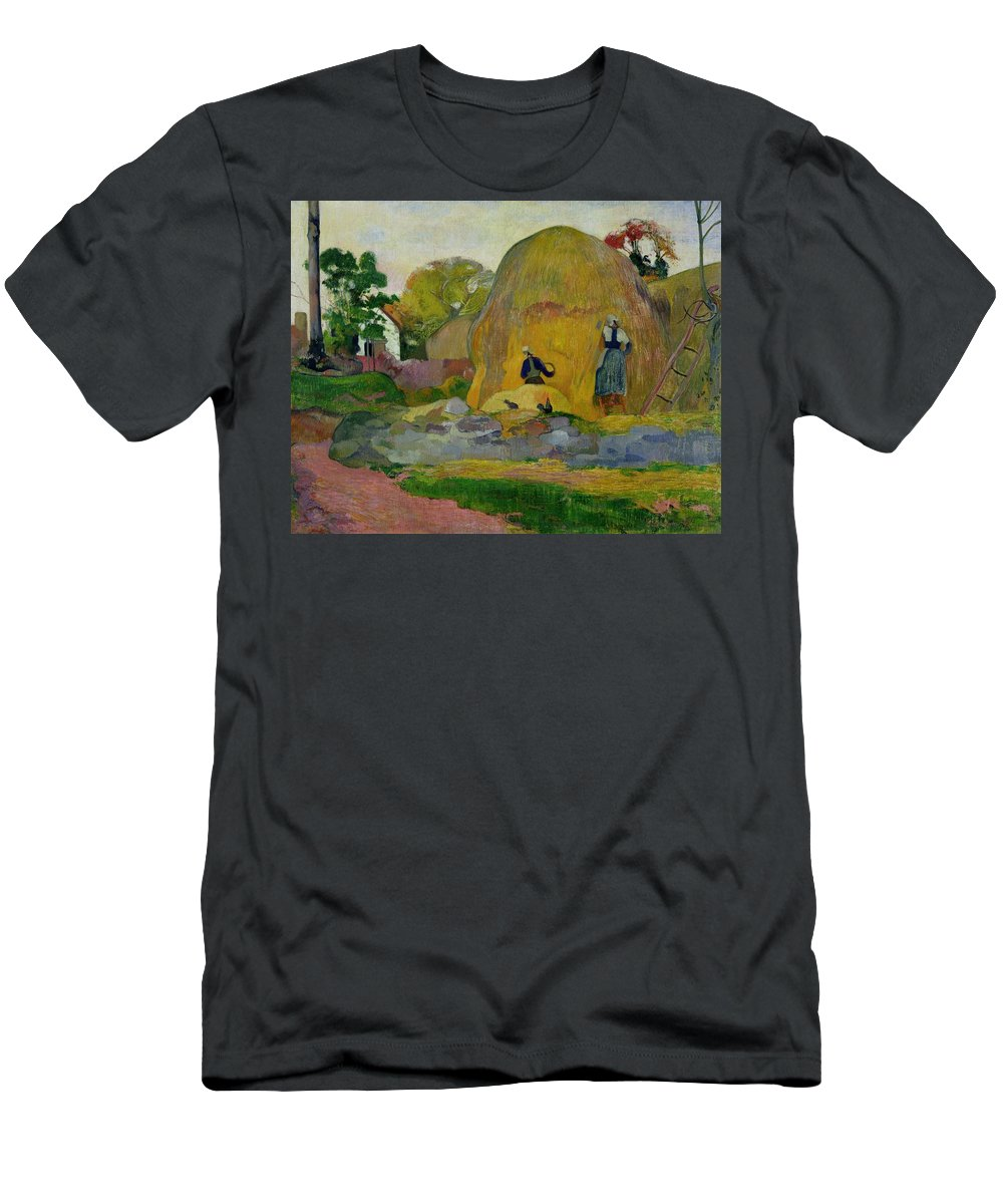 Yellow Haystacks Men's T-Shirt (Athletic Fit) featuring the painting Golden Harvest by Paul Gauguin