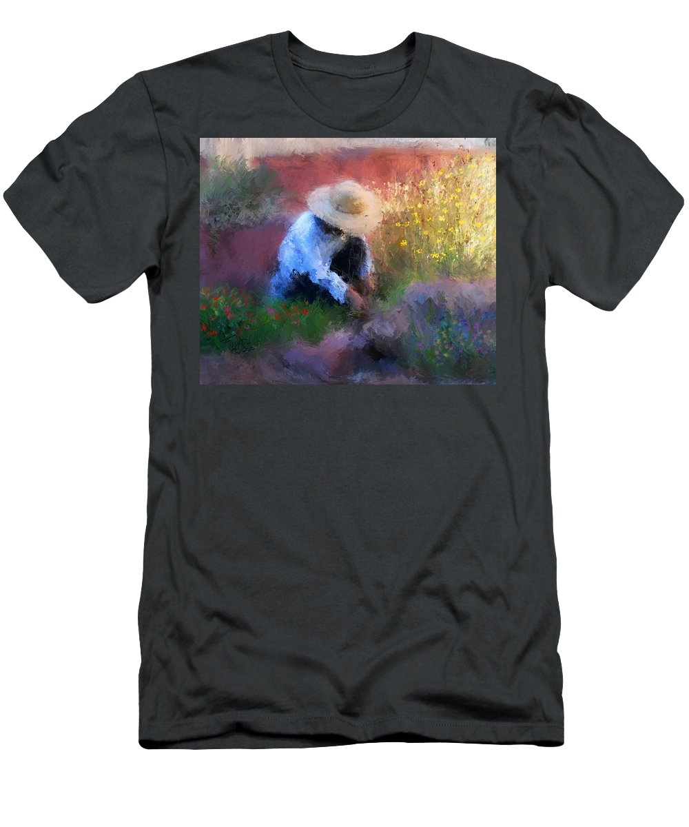 Woman Men's T-Shirt (Athletic Fit) featuring the painting Golden Light by Colleen Taylor