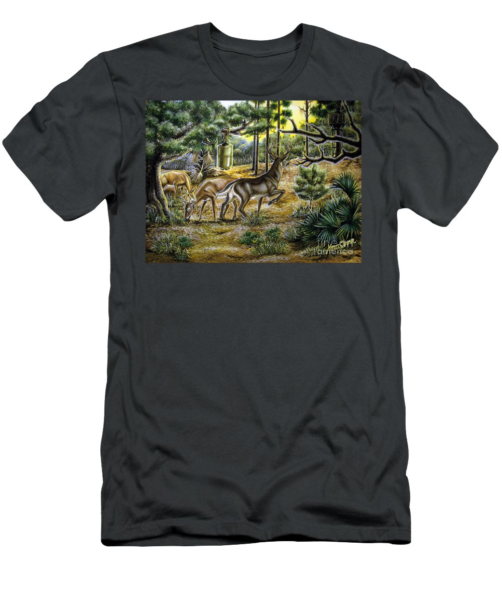 Deer Men's T-Shirt (Athletic Fit) featuring the painting Golden Opportunity by Monica Turner