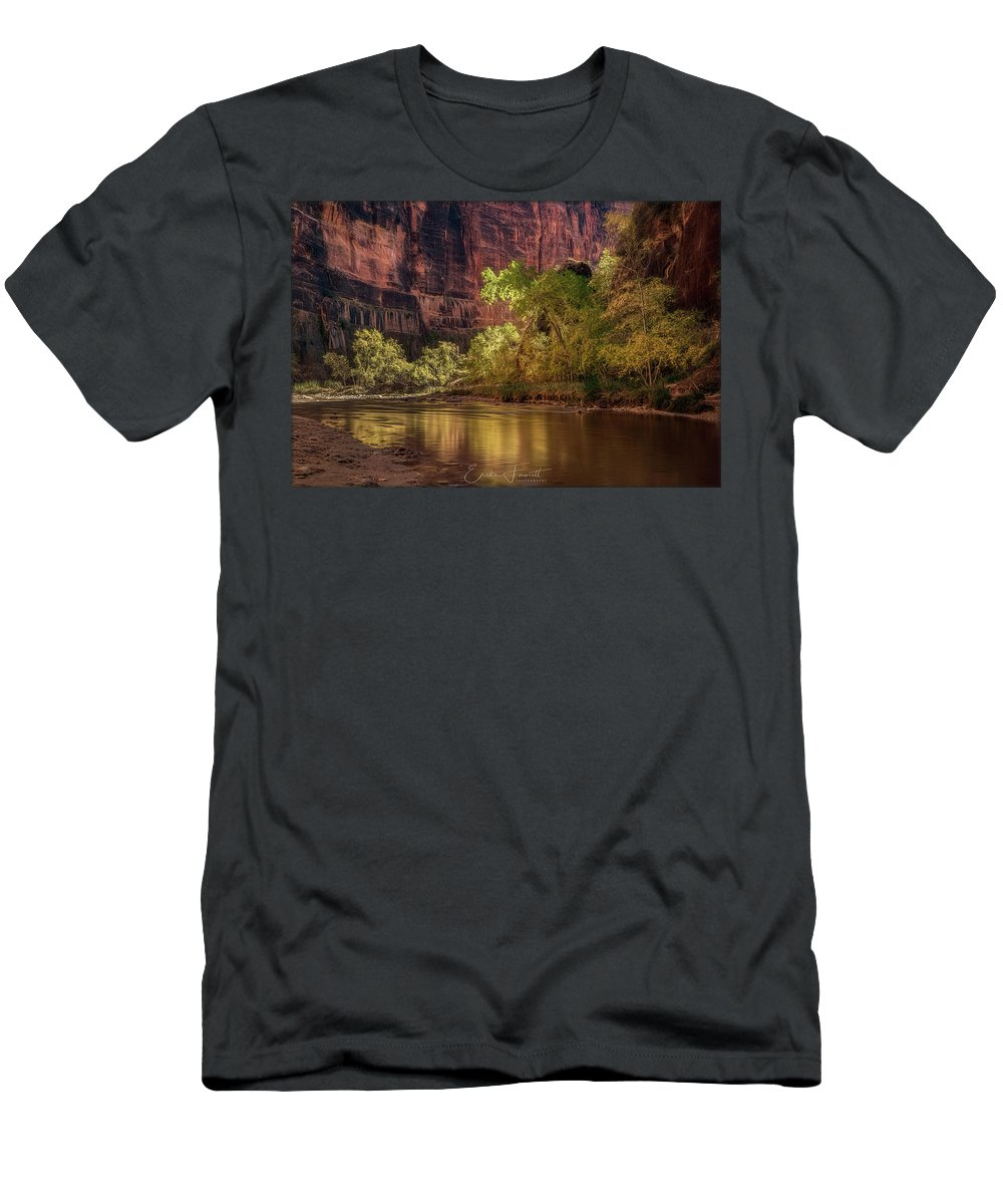 Zion Men's T-Shirt (Athletic Fit) featuring the photograph Golden Reflections by Erika Fawcett