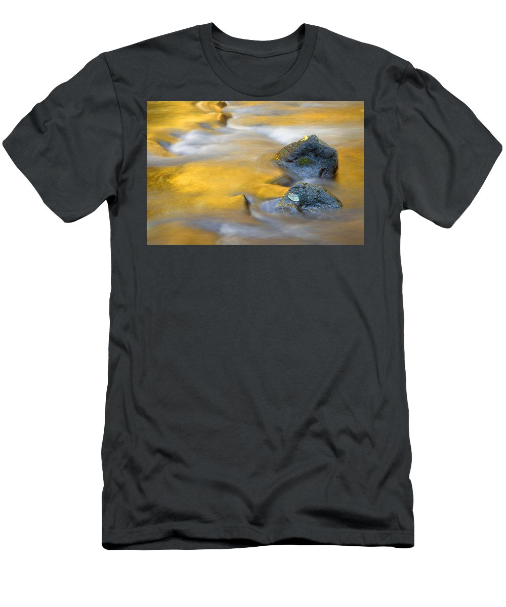 Leaves Men's T-Shirt (Athletic Fit) featuring the photograph Golden Refuge by Mike Dawson