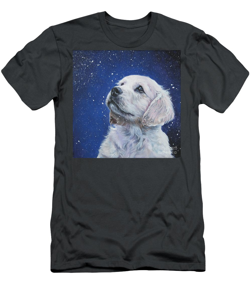 Dog Men's T-Shirt (Athletic Fit) featuring the painting Golden Retriever Pup In Snow by Lee Ann Shepard