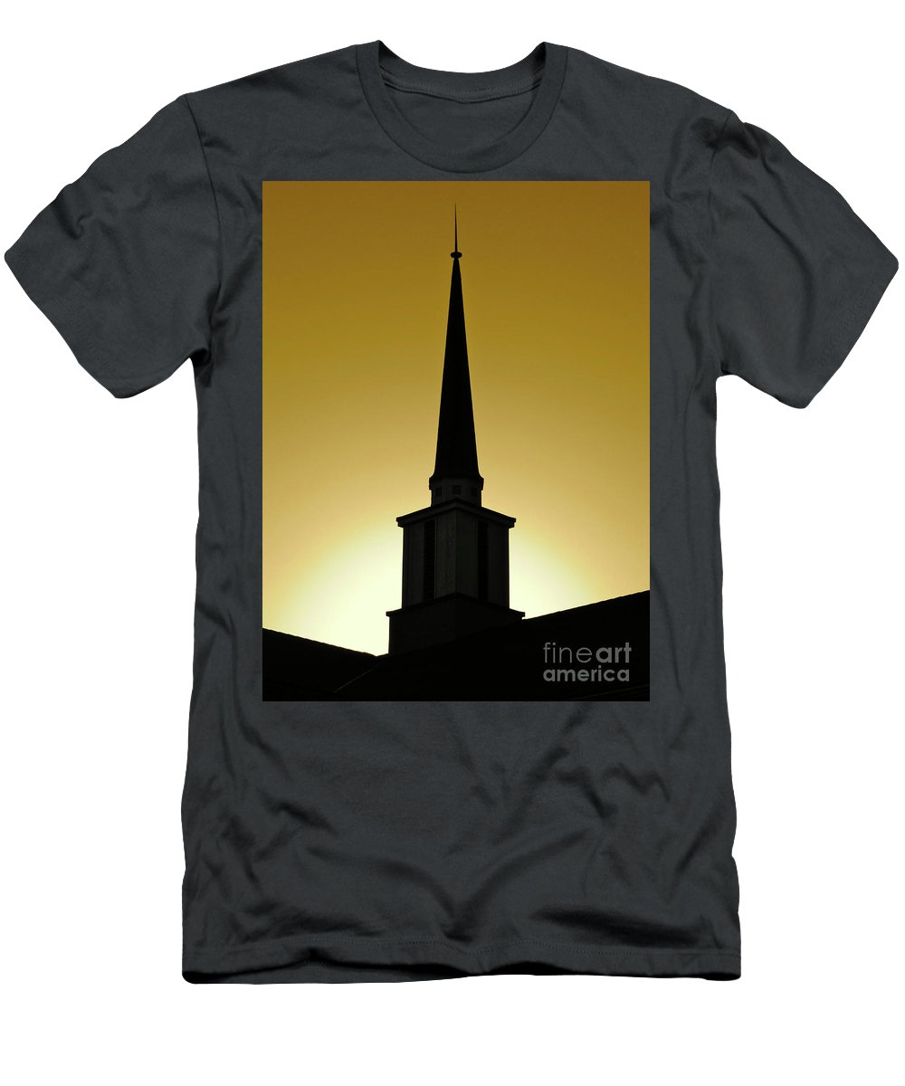 Cml Brown Men's T-Shirt (Athletic Fit) featuring the photograph Golden Sky Steeple by CML Brown