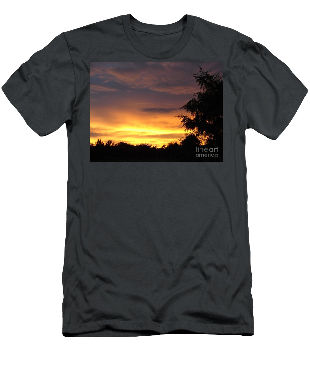 Sunset Men's T-Shirt (Athletic Fit) featuring the photograph Golden Sunset 2 by Carol Lynch