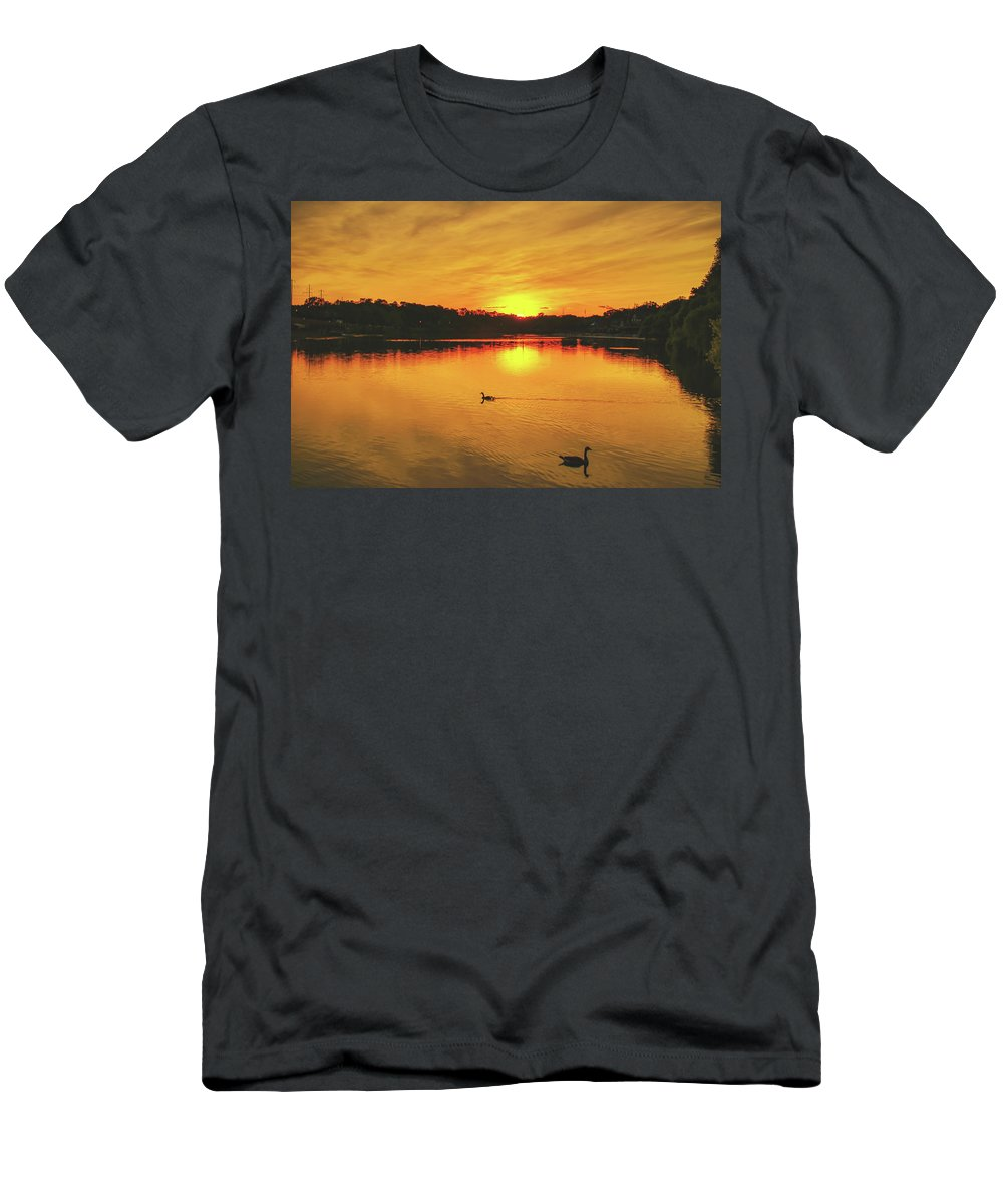 Nature Men's T-Shirt (Athletic Fit) featuring the photograph Golden Sunset by Howard Roberts