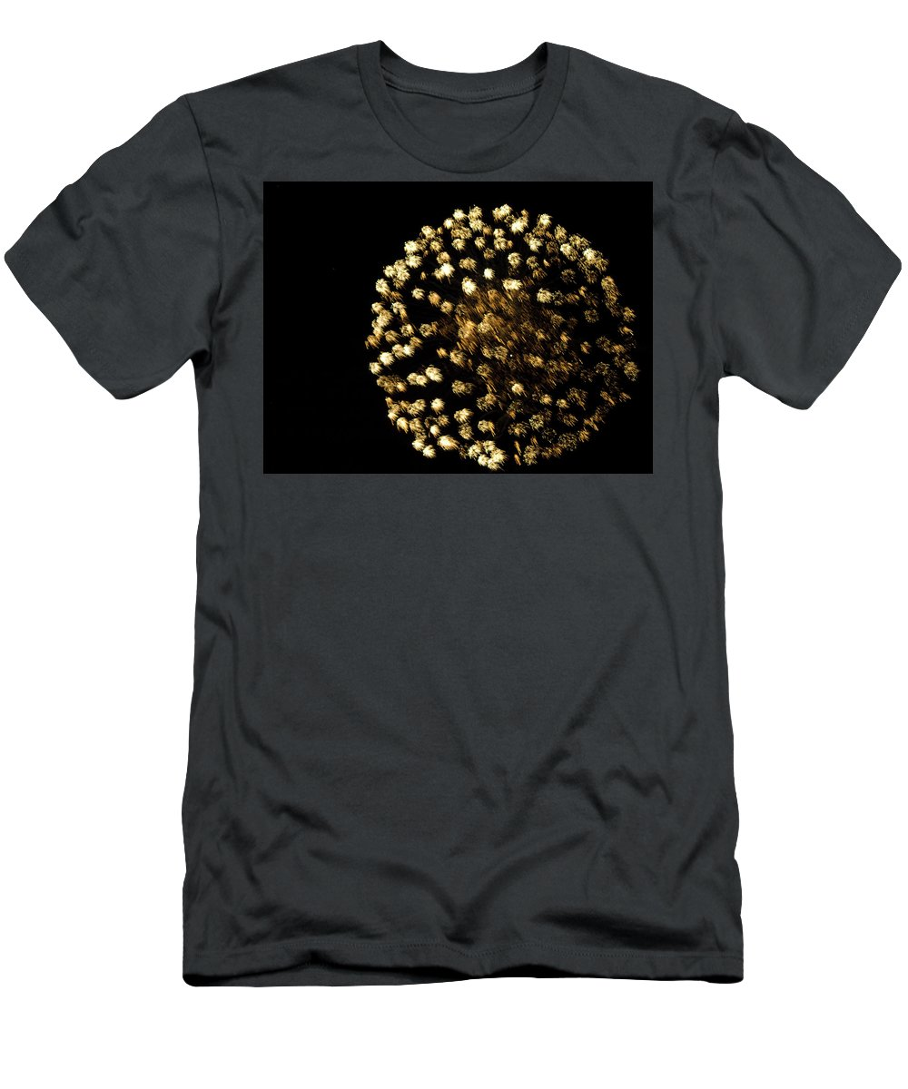 Fire Works Men's T-Shirt (Athletic Fit) featuring the photograph Golden by Tara Lynn
