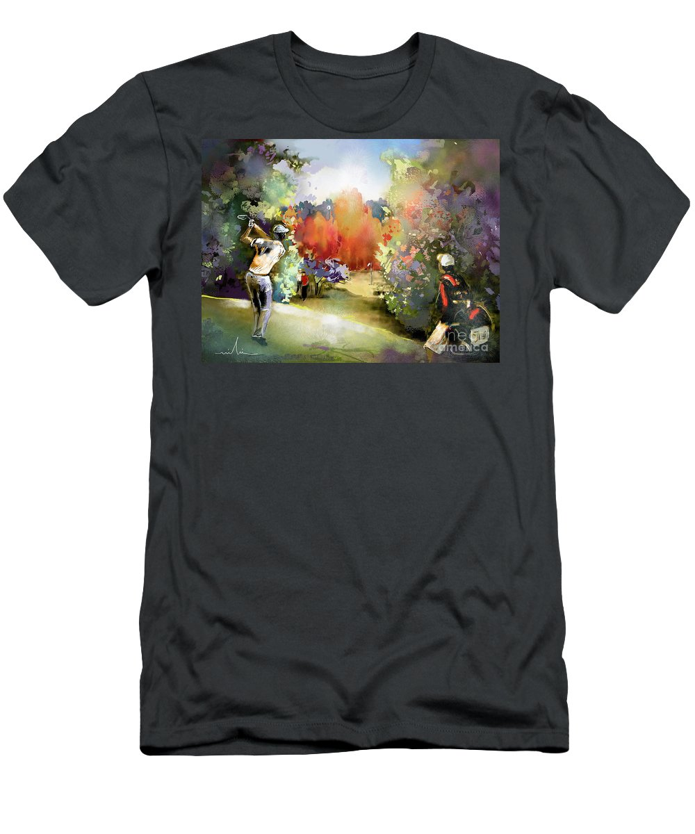 Golf Painting Golfer Sport Gut Laerchenhof Mercedes-benz Championship Pga Golf Men's T-Shirt (Athletic Fit) featuring the painting Golf In Gut Laerchehof Germany 02 by Miki De Goodaboom