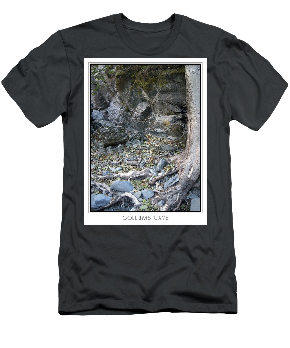 Trees Men's T-Shirt (Athletic Fit) featuring the photograph Gollum's Cave by Karen W Meyer