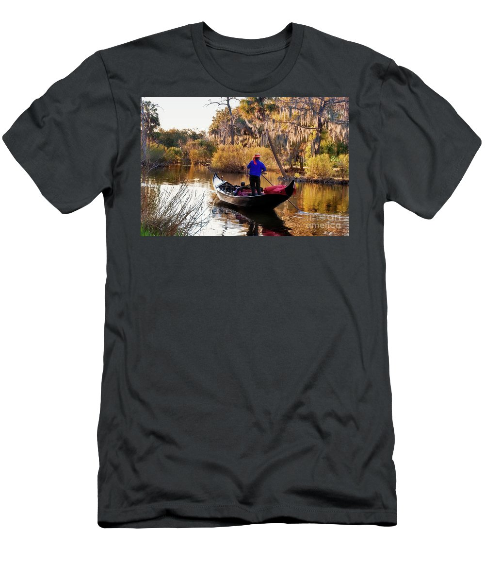 Gondola Men's T-Shirt (Athletic Fit) featuring the photograph Gondola In City Park Lagoon New Orleans by Kathleen K Parker