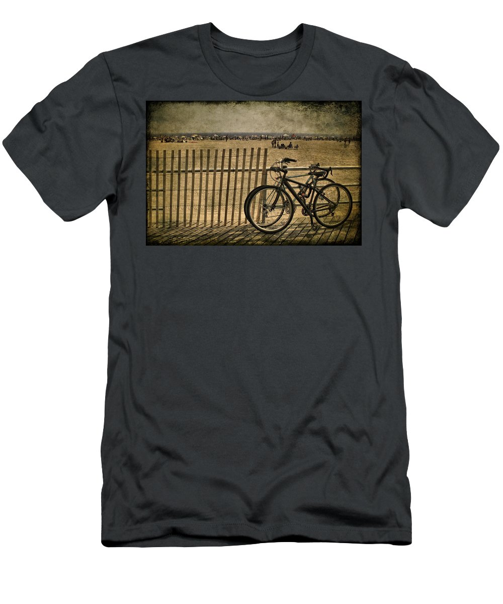 Bicycle Men's T-Shirt (Athletic Fit) featuring the photograph Gone Swimming by Evelina Kremsdorf
