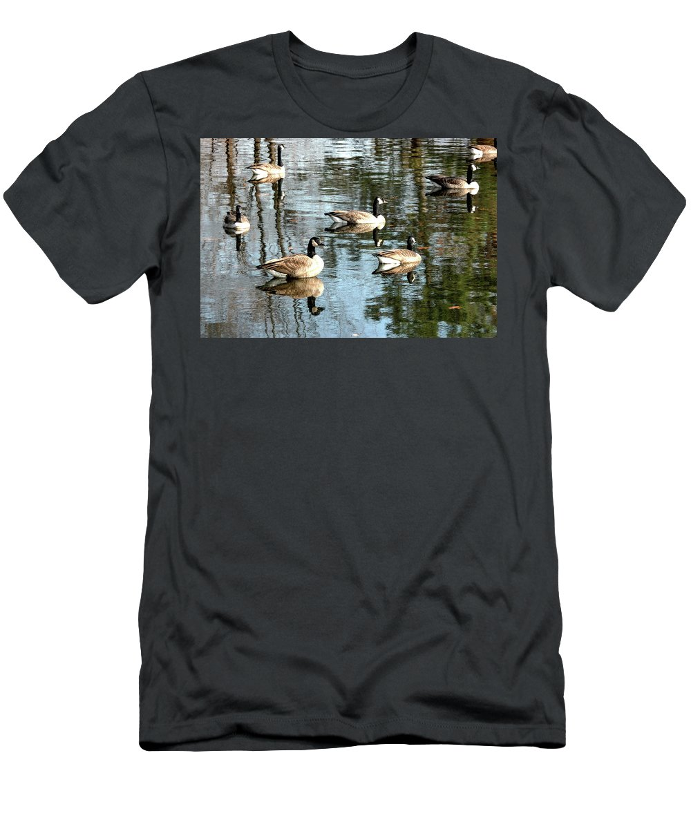 Pond Men's T-Shirt (Athletic Fit) featuring the photograph Goosed by Vm Vassolo