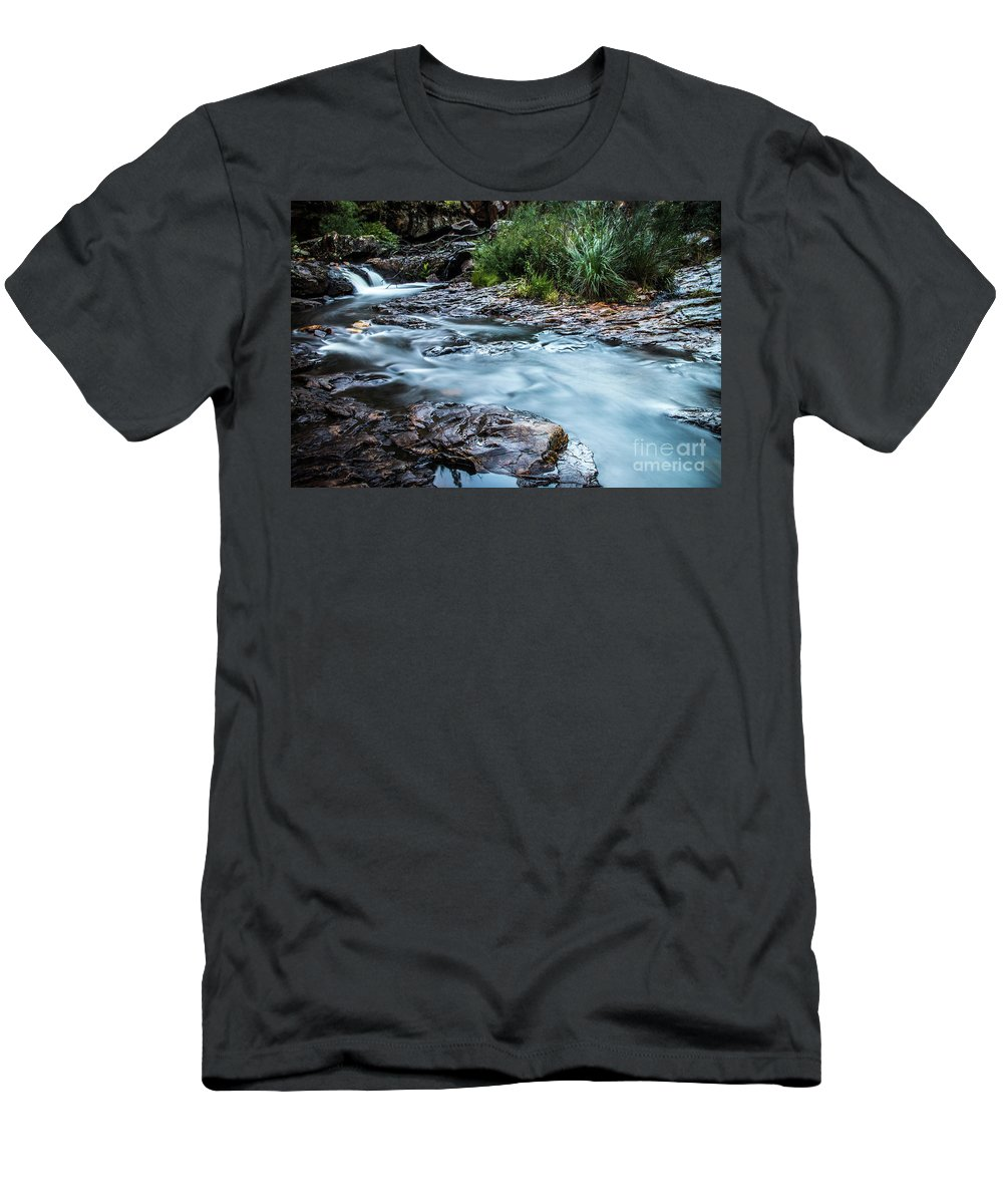 Waterfall Men's T-Shirt (Athletic Fit) featuring the photograph Gossamer Flow by Russell Alexander