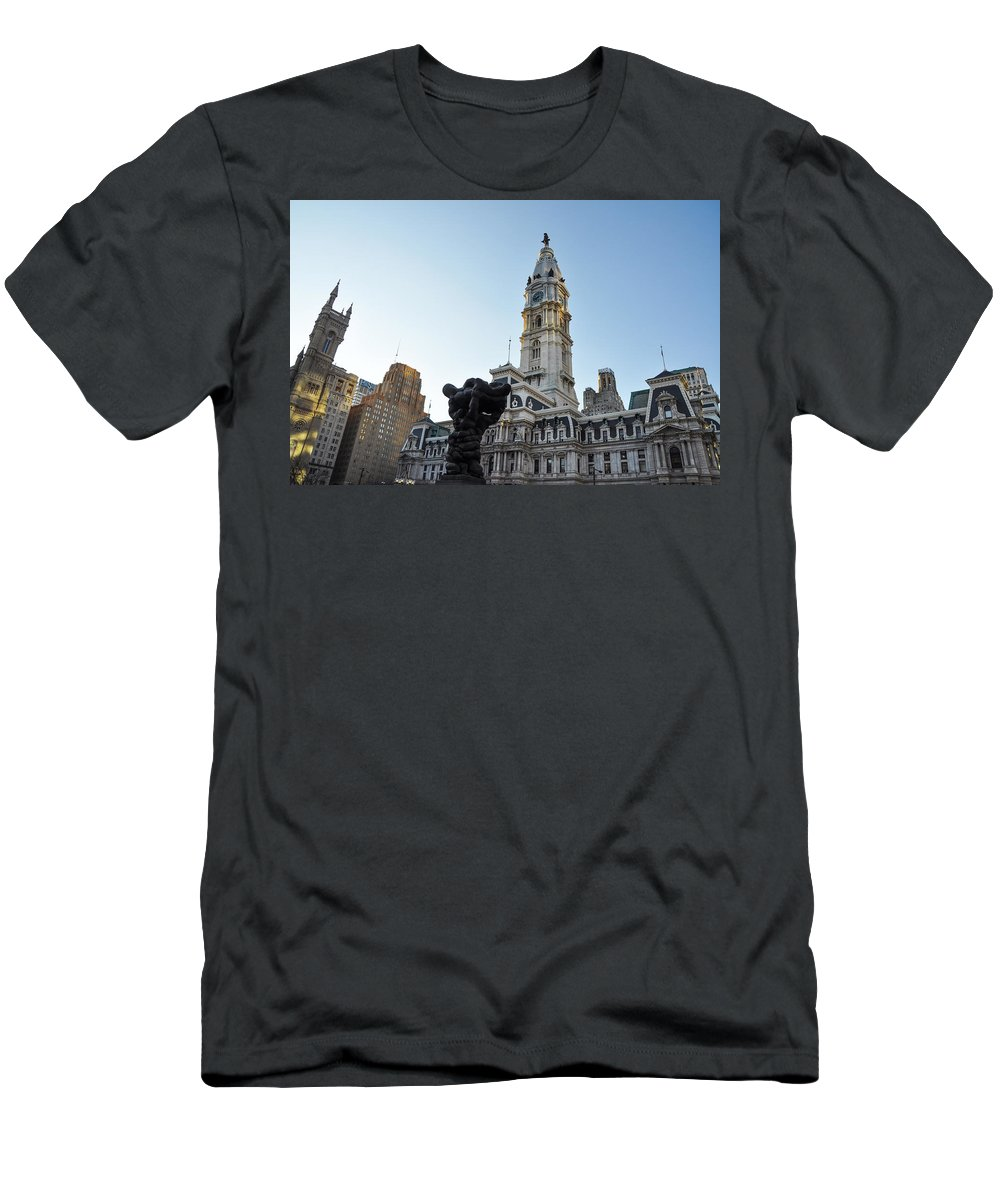 Government Men's T-Shirt (Athletic Fit) featuring the photograph Government Of The People And City Hall Philadelphia by Bill Cannon