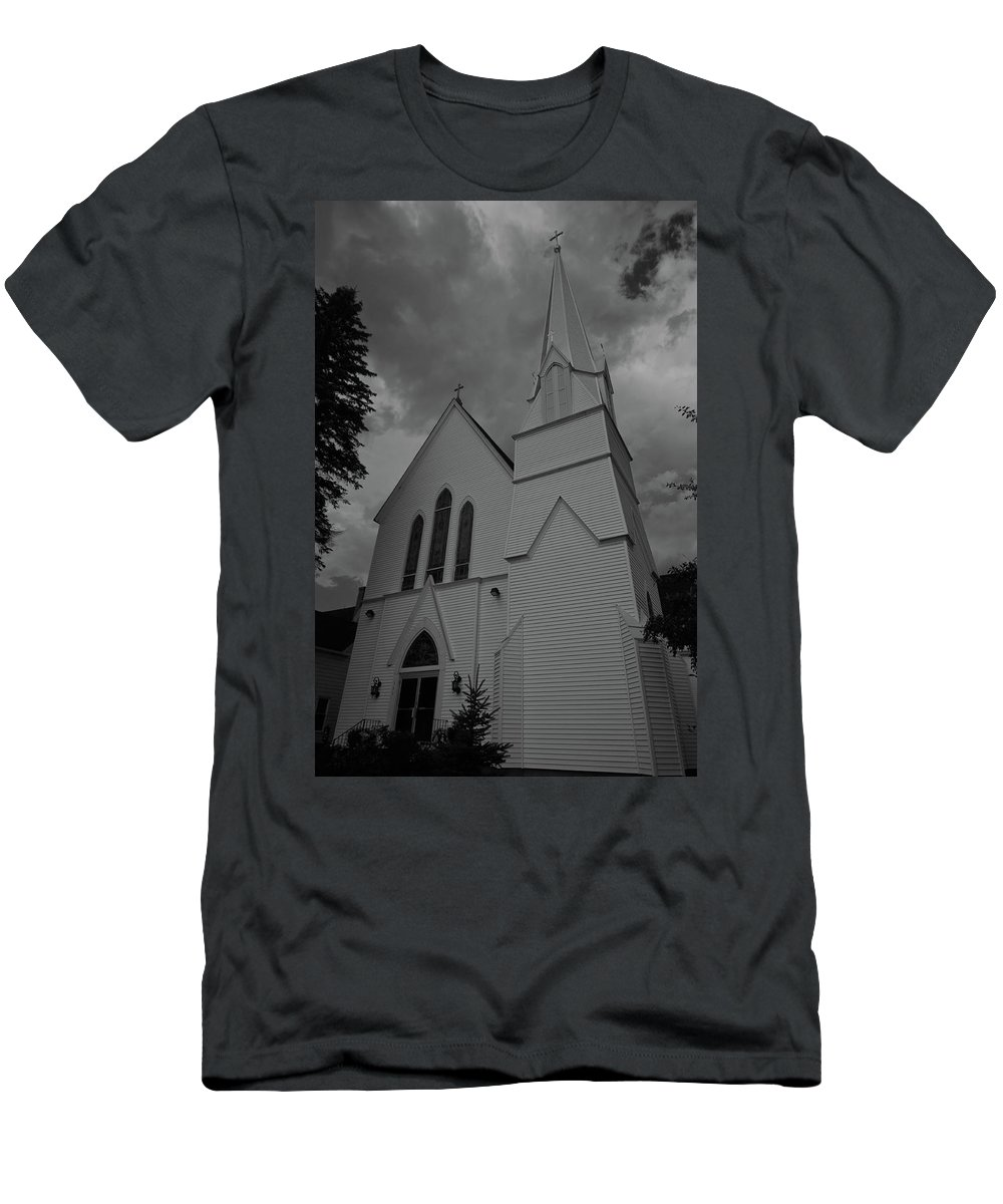 white Mountains Of New Hampshire Men's T-Shirt (Athletic Fit) featuring the photograph Grace In Black And White by Paul Mangold