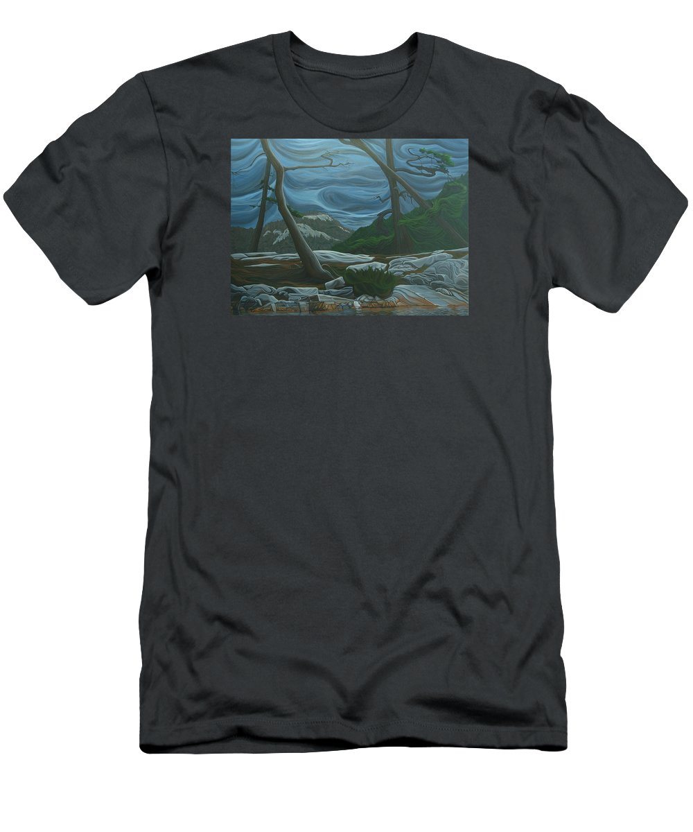 Grace Lake Men's T-Shirt (Athletic Fit) featuring the painting Grace Lake by Jan Lyons