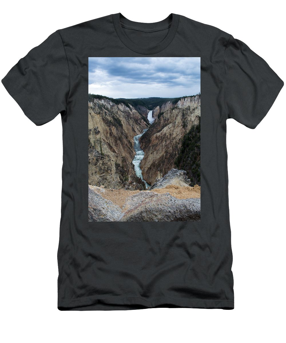 Yellowstone National Park Men's T-Shirt (Athletic Fit) featuring the photograph Grand Canyon Photo by Linda Kerkau
