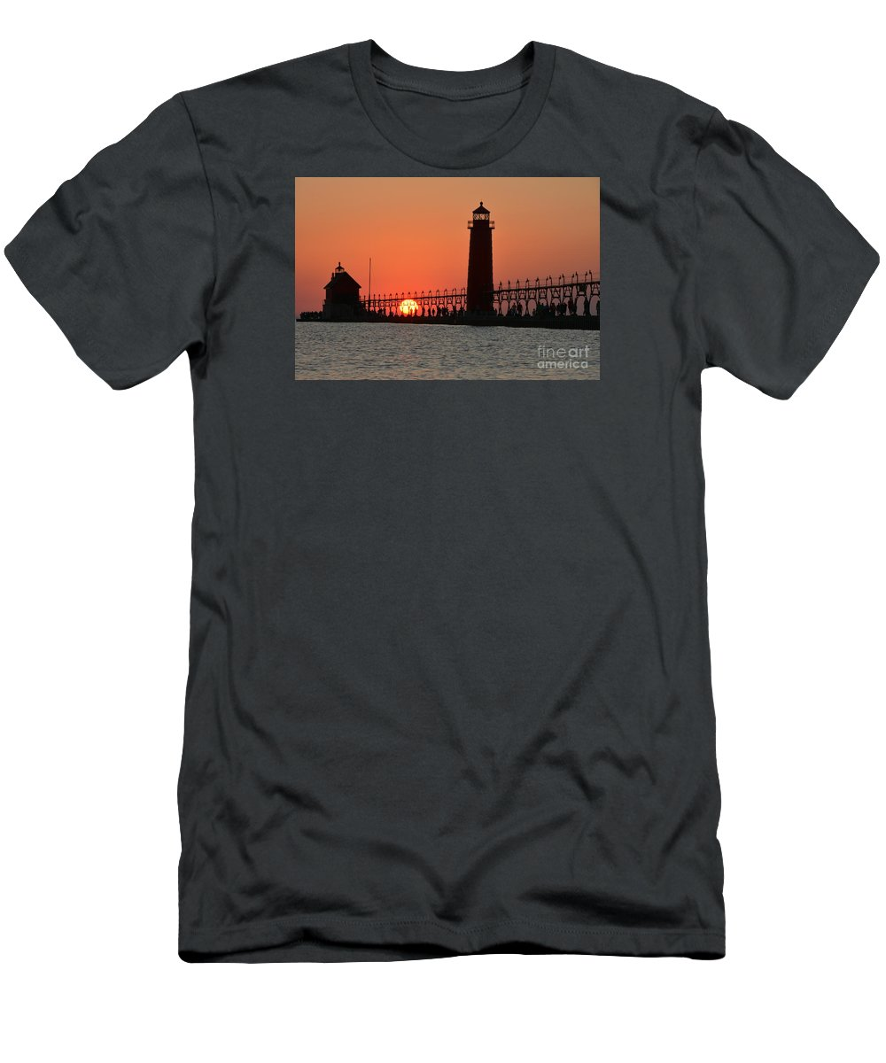 Lighthouse Men's T-Shirt (Athletic Fit) featuring the photograph Grand Haven Lighthouse by Stephen Path
