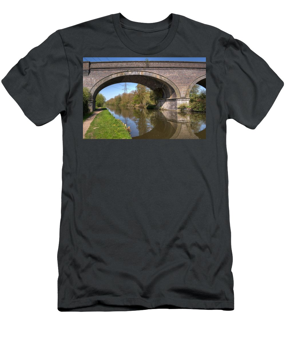 Bridge Men's T-Shirt (Athletic Fit) featuring the photograph Grand Union Canal Bridge 181 by Chris Day