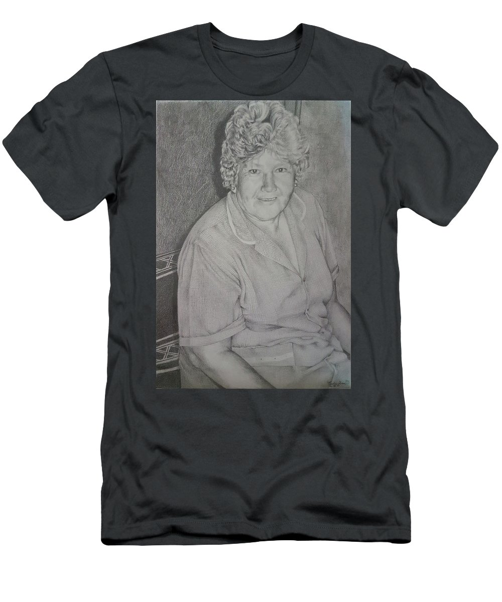 Portrait Men's T-Shirt (Athletic Fit) featuring the drawing Grandmother's Portrait by Carola Moreno