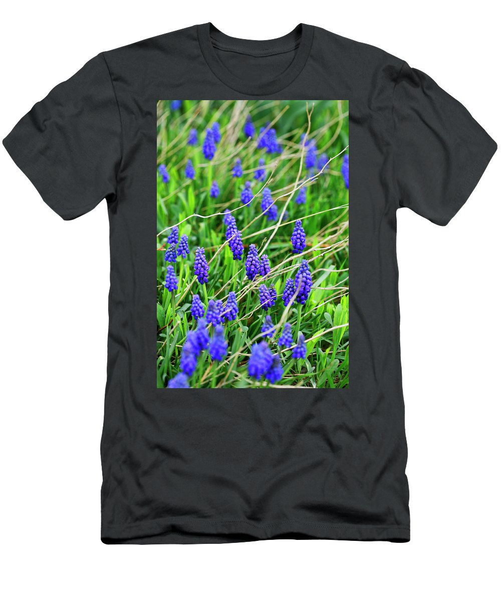 Grape Men's T-Shirt (Athletic Fit) featuring the photograph Grape Hyacinth by Marilyn Hunt