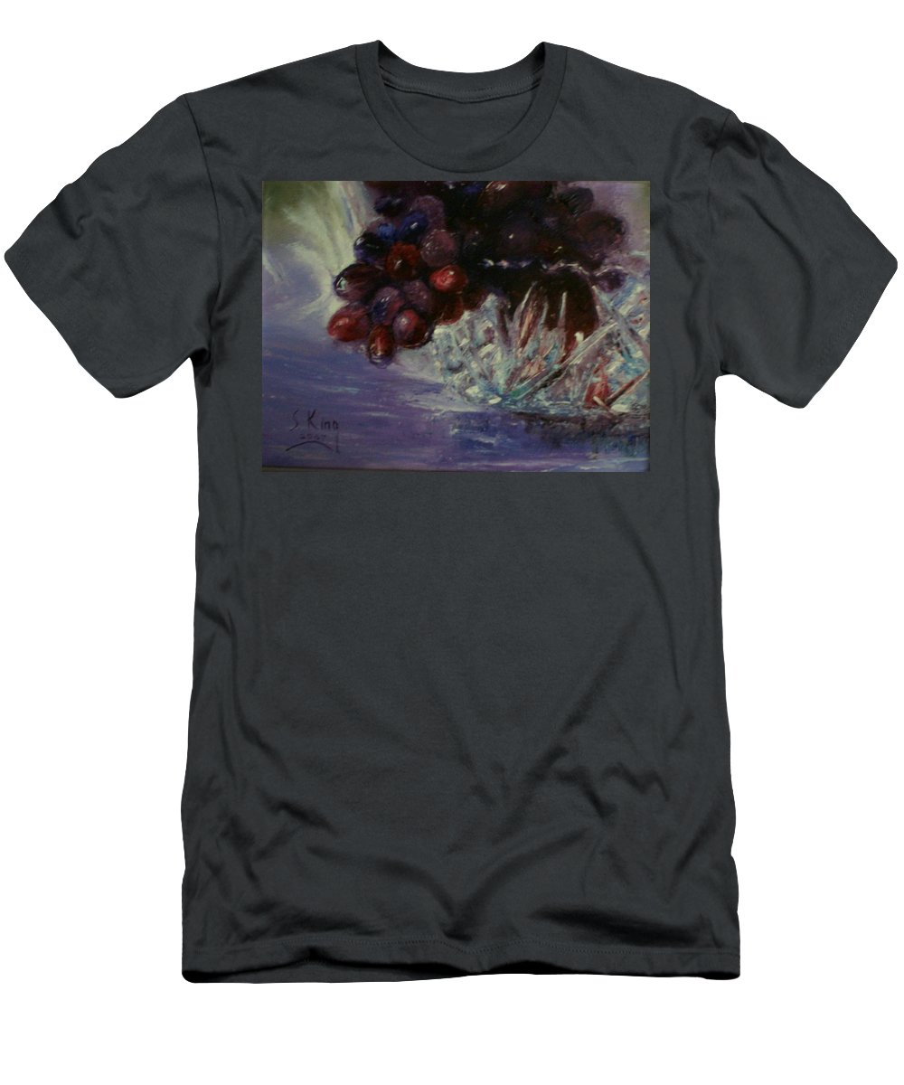 Still Life Men's T-Shirt (Athletic Fit) featuring the painting Grapes And Glass by Stephen King