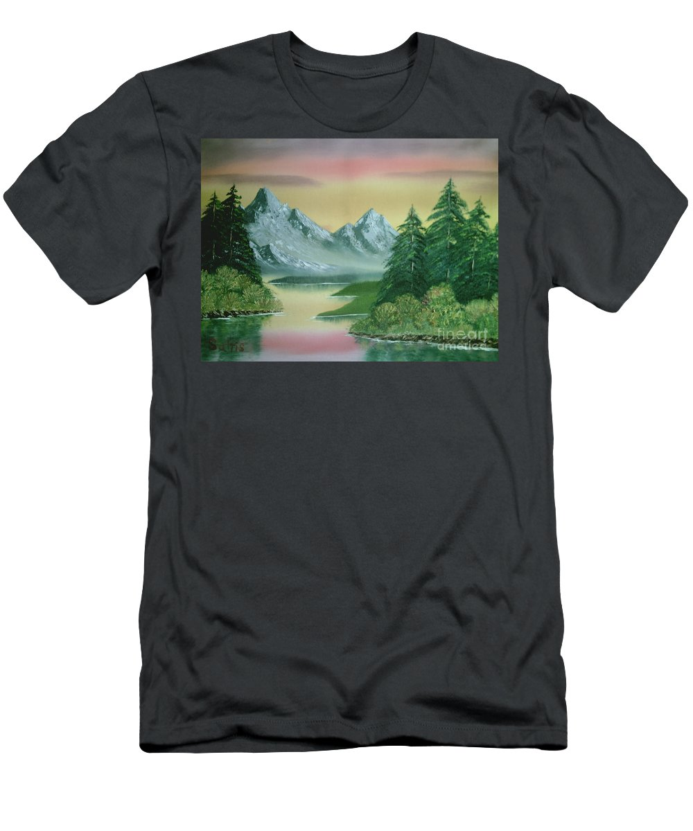Bright Sky Men's T-Shirt (Athletic Fit) featuring the painting Gray Mountains by Jim Saltis