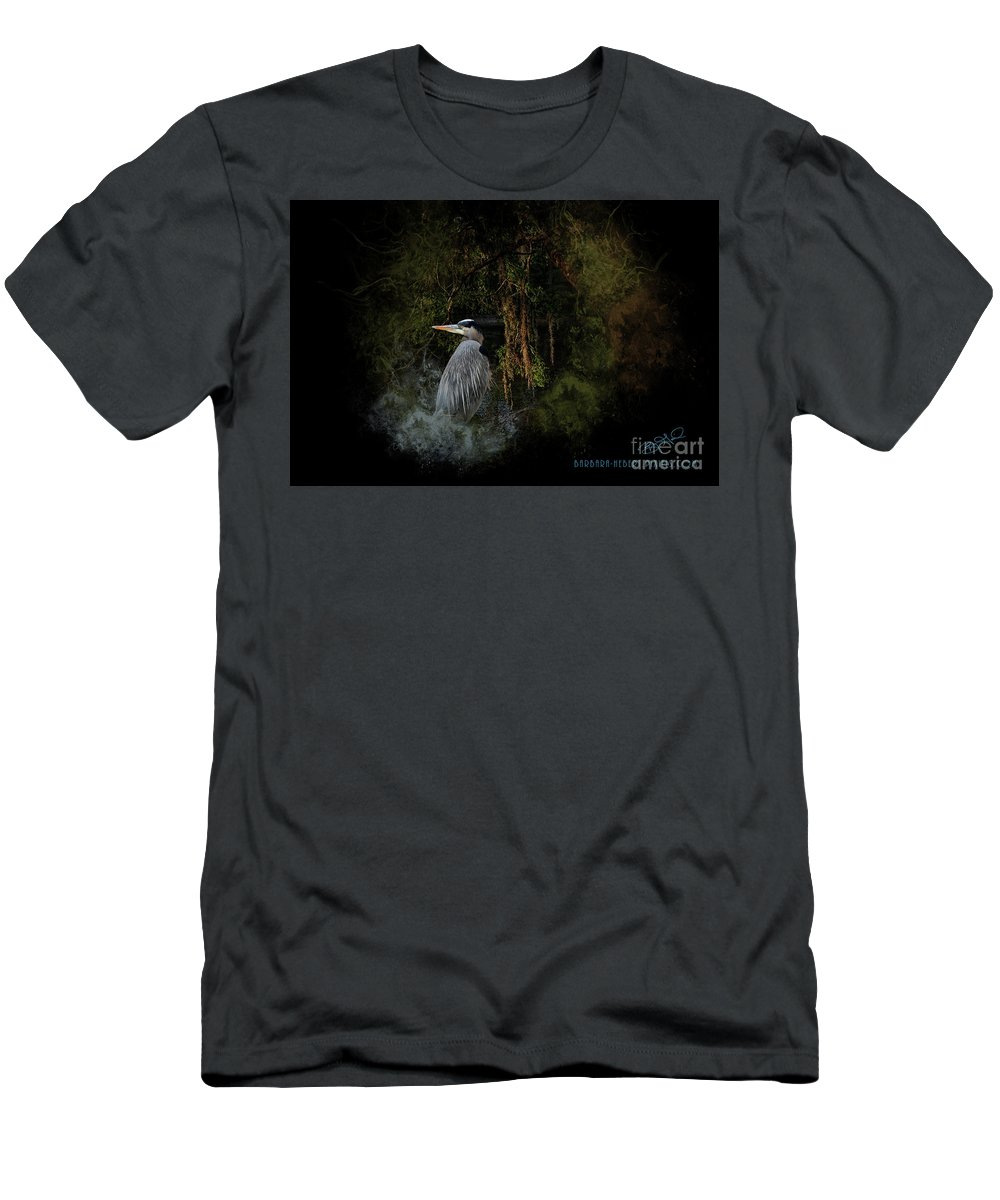 Nature Men's T-Shirt (Athletic Fit) featuring the mixed media Great Blue Heron On The River by Barbara Hebert