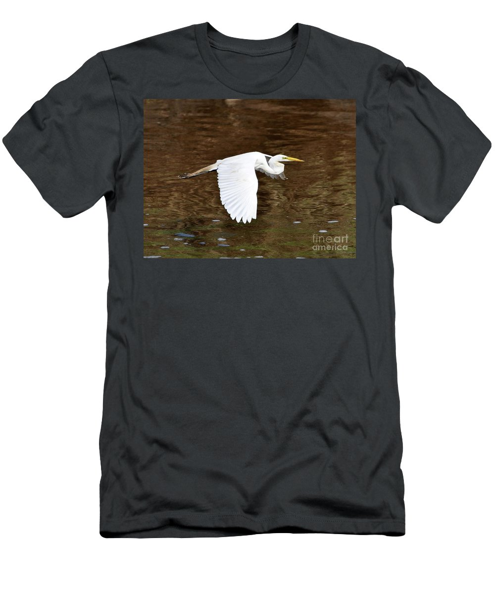 Great Egret Men's T-Shirt (Athletic Fit) featuring the photograph Great Egret In Flight by Al Powell Photography USA