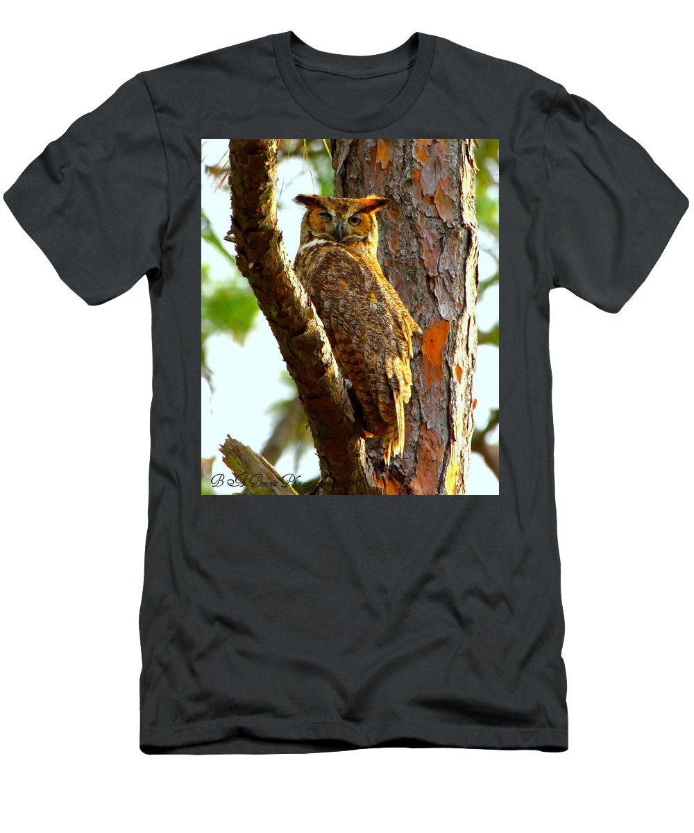 Great Horned Owl Men's T-Shirt (Athletic Fit) featuring the photograph Great Horned Owl Wink by Barbara Bowen