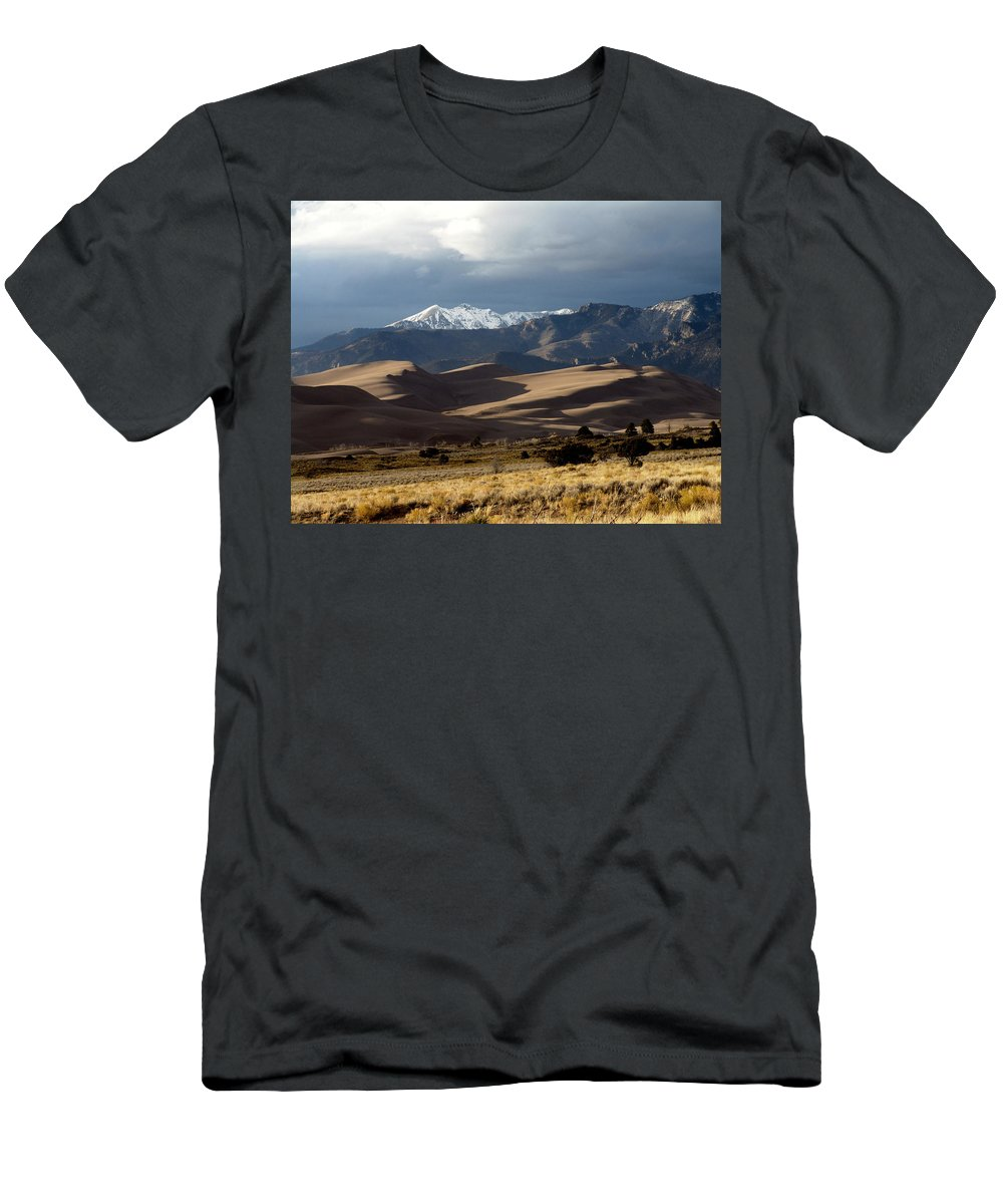 Sand Men's T-Shirt (Athletic Fit) featuring the photograph Great Sand Dunes National Park by Carol Milisen