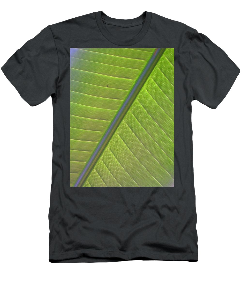 Leaf Men's T-Shirt (Athletic Fit) featuring the photograph Green And Purple Pattern by Laurie Paci